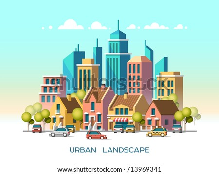 Modern city view. Traditional architecture landscape. Flat vector illustration. 3d style.