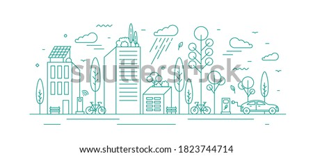 modern city with ecological