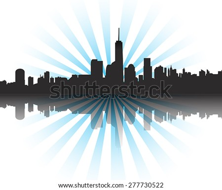 modern cityscape at sunset with