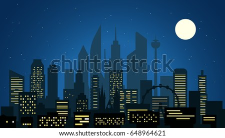 modern cityscape in the night