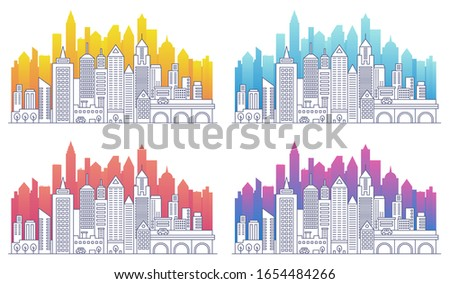 Modern cityscape outline vector illustrations set. Skyscrapers apartment buildings linear isolated. City skyline color gradient silhouettes set.