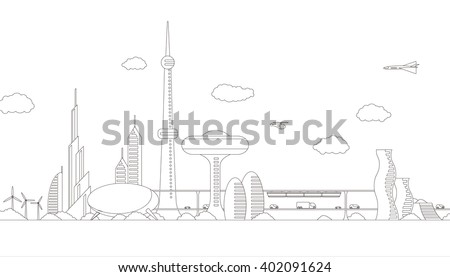 modern cityscape panorama view