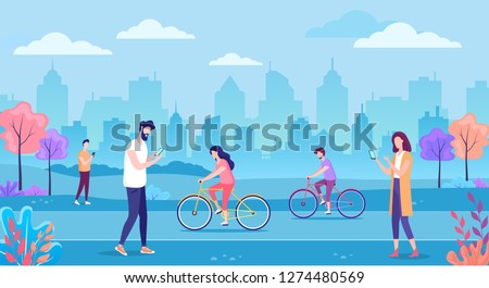 modern cityscape with people