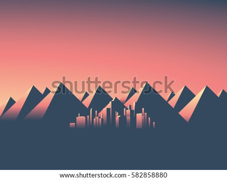Modern cityscape with skyscrapers skyline in sunset colors. Mountain landscape background with high mountain range. Eps10 vector illustration.