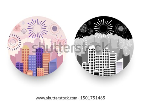 Modern cityscapes and fireworks round badges with city salutes of different shapes cloudscapes in color and monochrome versions. Isolated vector illustration