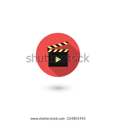 Modern clapper board icon, isolated on white background. Vector illustration with long shadow effect, eps 10.