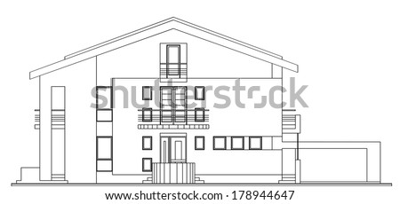 Modern Classic American House Facade Architectural Blueprint Vector Illustration