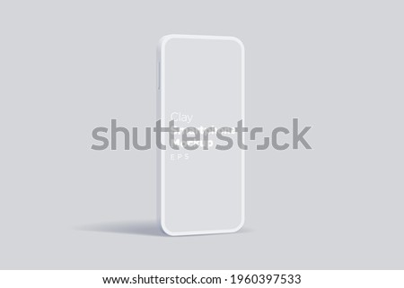 Modern clay mock up smartphone for presentation, information graphics, app display, standing view eps vector format.