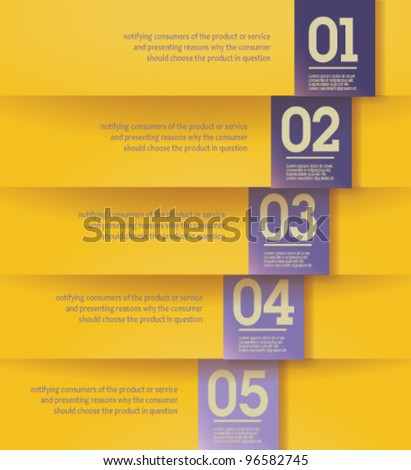 Modern, clean, Design template - fully editable / can be used for infographics / numbered banners / horizontal yellow cutout lines / graphic or website layout vector