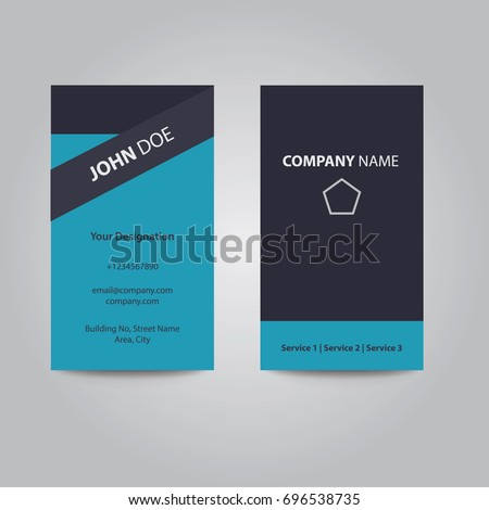 Modern Clean Flat Design Silver Blue Color Business Visiting Card
