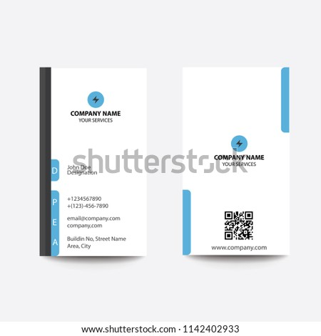 Modern Clean Flat Style Blue Business Card