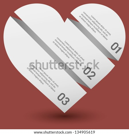 Modern clean template / white heart / can be used for infographics / numbered banners