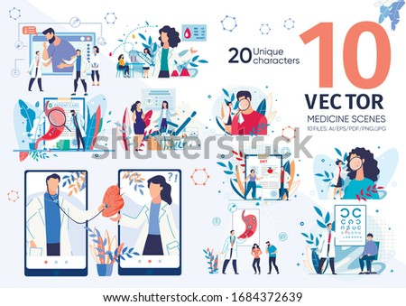 Modern Clinic or Medical Center Doctors Work Scenes, Hospital Laboratory, Diseases Diagnostics and Treatments, Medical Help for People with Various Health Problems Trendy Flat Vector Illustrations Set