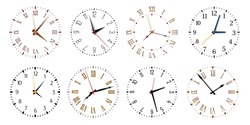 Modern clock faces. Minimalist watch, round clocks and watch face. Ticking clock timer measurement symbols, work time deadline metaphor. Isolated vector icons set