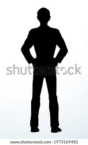 Modern closeup cool slim waist tall happy trendy casual fashion teen boy model. Outline black ink drawn full length joy old big human logo emblem retro art doodle line style white text space backdrop ストックフォト ©