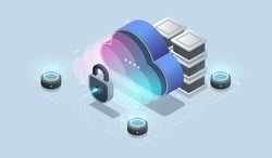 Modern cloud technology and networking concept. Cloud database, Futuristic server energy station. Data visualization concept. 3d isometric vector illustration.