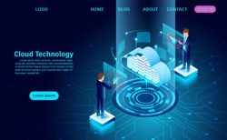 modern cloud technology and networking concept. Online computing technology. Big data flow processing concept, Internet data services vector illustration
