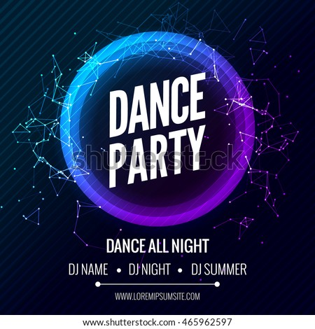 Modern Club Electro Music Party poster Template, Dance Party Flyer, brochure. Night Party beat Club Banner Poster