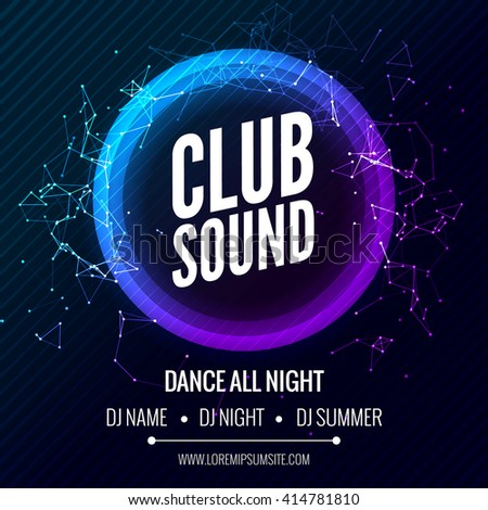 Modern Club Music Party Template, Dance Party Flyer, brochure Banner Poster. DJ background for electro sound