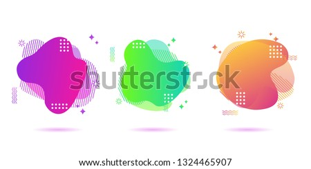 Modern Color abstract liquid shape, halftone patterns, fluid color overlap gradient background. Vector creative neon color splash shapes design - Vector Illustration #1324465907