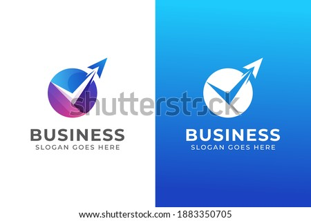 modern color agency travel check  business logo. transport, logistics delivery logo design with two versions Сток-фото ©