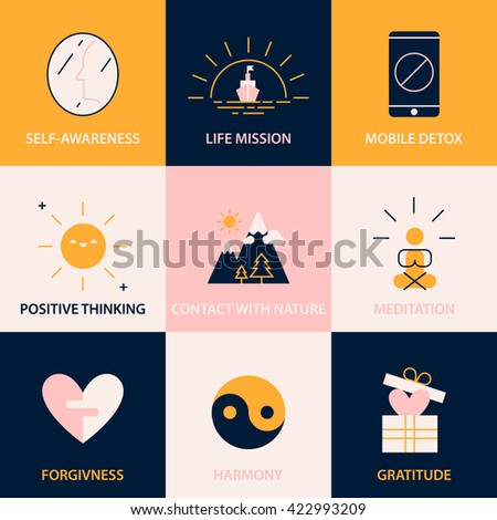 Modern color block conscious living icons set. Key tips to simple and happy life. Recommendations for boosting happiness.