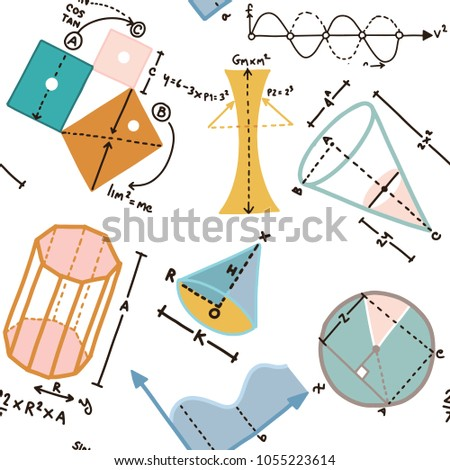 Modern color concept of mathematics for school, university and training. Vector illustration with different elements on the subject mathematics.Vector Illustration, seamless pattern