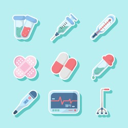 Modern color icon on a theme medical instruments set. High quality vector. syringe, test-tube, thermometer, band-aid, pill, dropper, cardiogram and crutches. cute  cartoon vector icons set - vector