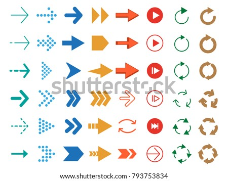Modern colored arrows. Vector icon set of arrow pointer for navigation interface illustration
