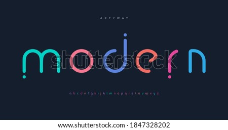 Modern colored font for logo on black background. Colorful letters with dots, flat cartoon style vector lowercase alphabet for creative logo, awesome monogram and lettering.