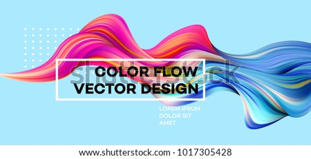 Modern colorful flow poster. Wave Liquid shape in blue color background. Art design for your design project. Vector illustration EPS10 - Shutterstock ID 1017305428