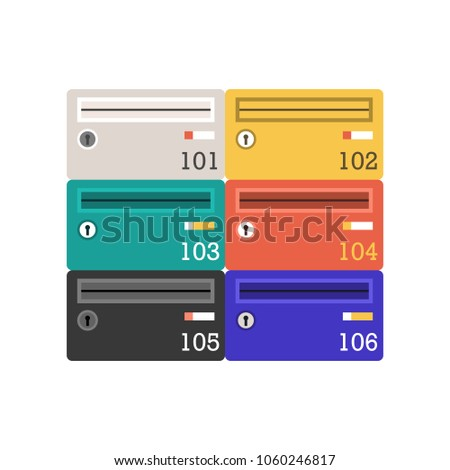 Modern colorful letter boxes vector illustration. Vintage mailbox icon. Classic mail post icon.
