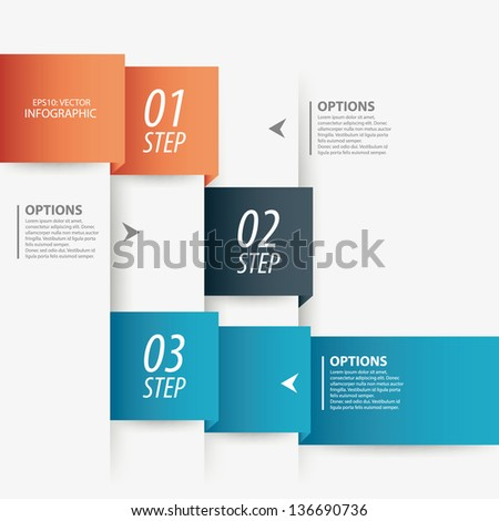 Modern colorful origami style step options banner design Vector illustration