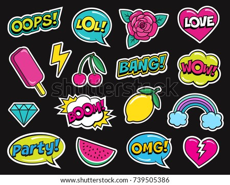Modern colorful patch set on black background. Fashion patches of cherry, diamond, watermelon, ice cream, rose, rainbow, hearts, comic bubbles etc. Cartoon 80s-90s pop art style. Vector illustration #739505386