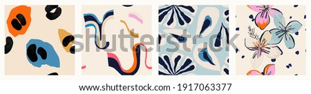Modern colorful patterns. Hand drawn trendy abstract illustrations. Creative collage seamless patterns.  Stock foto ©