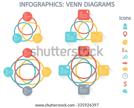 Venn diagram vector download free vector art stock graphics images modern colorful set of infographic elements for business including four venn diagrams and set of icons ccuart Gallery