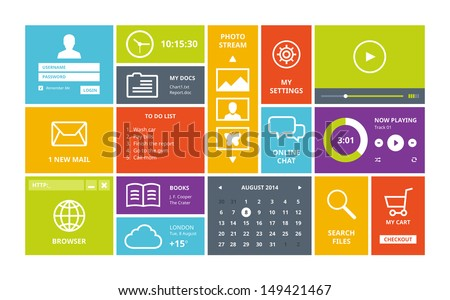 Modern colorful user interface vector layout in flat design with simple square windows, buttons, widgets and navigation icons.  Isolated on white background.