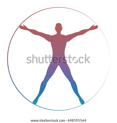 modern colorful vitruvian man