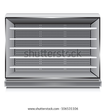 Modern commercial refrigerator for trade organizations. Vector illustration.