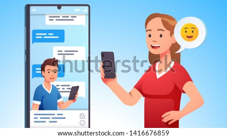 Modern communication concept. Man and woman couple chatting, messaging using chat app or social network on mobile phone. Two persons cellphone conversation sending messages. Flat vector illustration