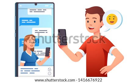 Modern communication concept. Man, woman couple chatting, messaging using chat app or social network on mobile phone. Two persons cellphone conversation sending messages. Flat vector illustration