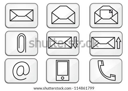 Modern communication mail icons buttons