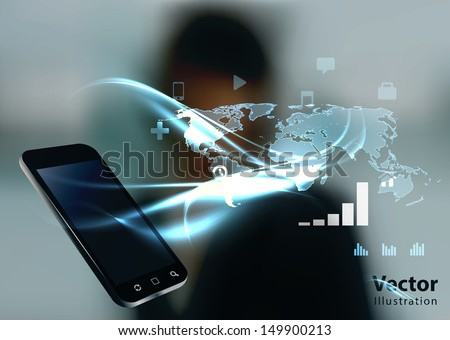 Modern communication technology illustration with mobile phone and high tech business background