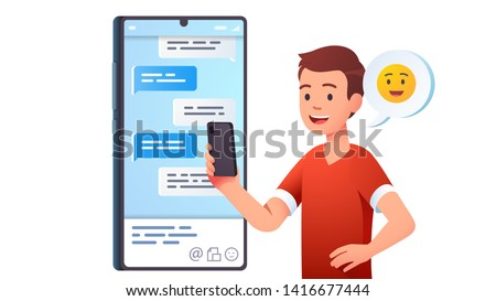Modern communication. Teen kid chatting messaging using chat app or social network on mobile phone. Cellphone conversation person sending messages. Flat vector character concept illustration