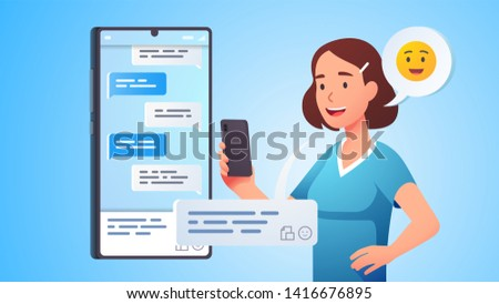 Modern communication. Woman chatting messaging using chat app or social network on mobile phone. Cellphone conversation person sending messages. Flat vector character concept illustration