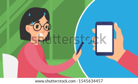 Modern communication. Woman chatting messaging using chat app or social network on mobile phone. Cellphone conversation person sending messages. Flat vector character concept illustration.