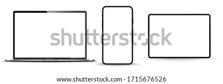 Modern computer monitor mockup isolated on transparent background front view. Vector illustration