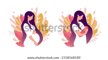 Modern concept illustration. Pregnancy and motherhood. A beautiful pregnant woman stands sideways. A young mother holds a newborn in her arms. Natural background with leaves. Stock vector isolated on
