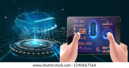 Modern concept of driving. Driving with a tablet. A hologram of the vehicle, diagnostics of the vehicle. Smart car and smartphone dashboard system data . Illustration Vector