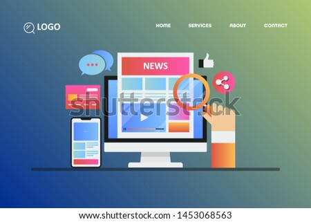 Modern concept - Online news, blogging, digital publication, - vector landing page illustration with icons and texts #1453068563